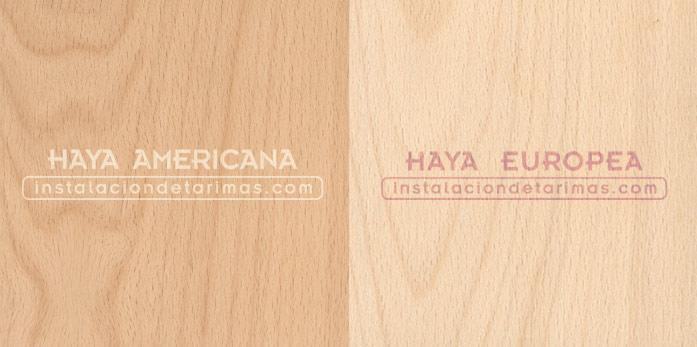 foto de madera de haya europea y america con las denominaciones de la madera de haya