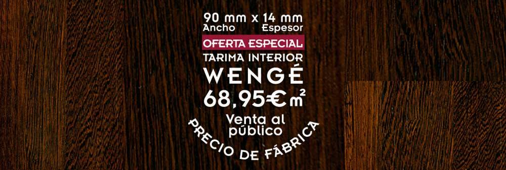 foto de suelo de madera con el texto oferta de tarima de wengé para suelos de madera de interior a precio de fábrica