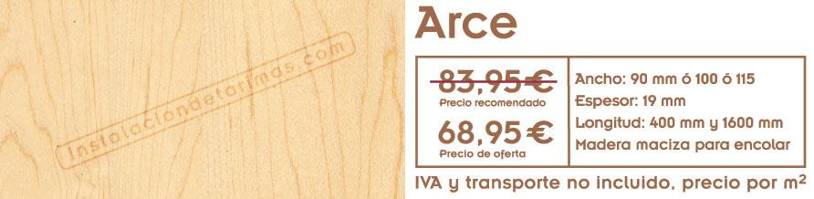 oferta de tarima de arce con textos con precios y foto del suelo