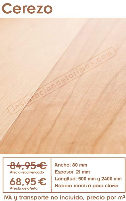 oferta de tarima de cerezo con precio y foto del suelo de madera