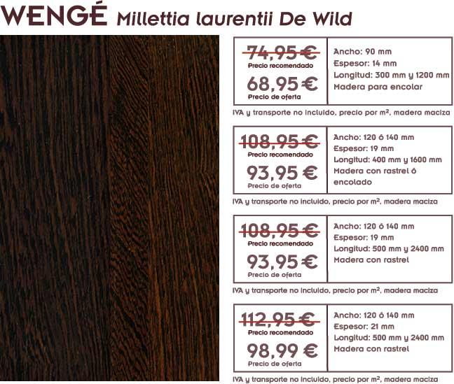 gráfico con precios y foto de la oferta de tarima de wengé