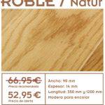 oferta de tarima de roble natur de 14 mm de esperor para suelos de interior
