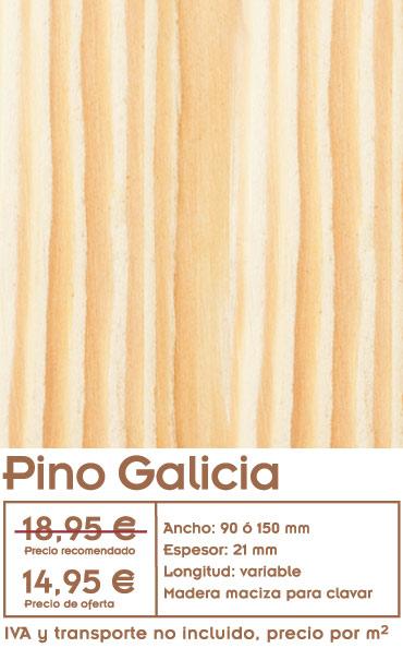 gráfico con el precio de la oferta de tarima de pino galicia y foto de pino