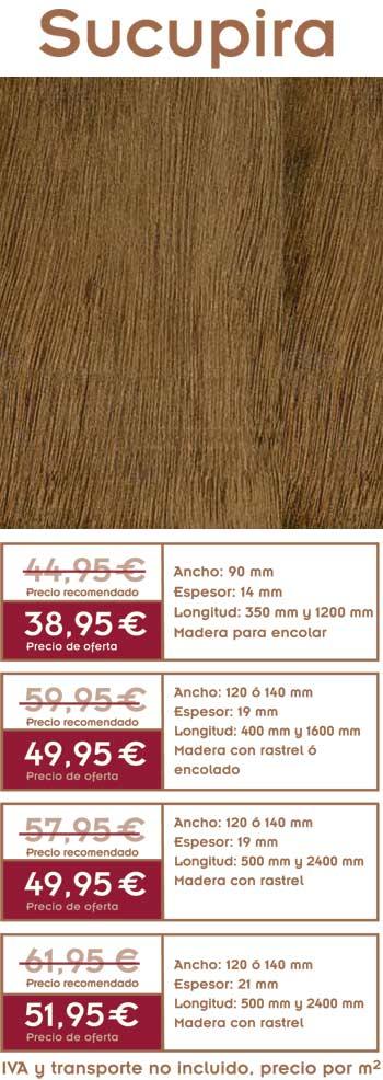 foto de gráficos con precios de la oferta de tarima de sucupira y foto del suelo de madera