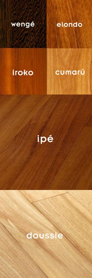 fotos de suelos de tarima con su nombre en texto: doussie, ipé, iroco, cumarú, wengé y elondo para el artículo de precios de tarima