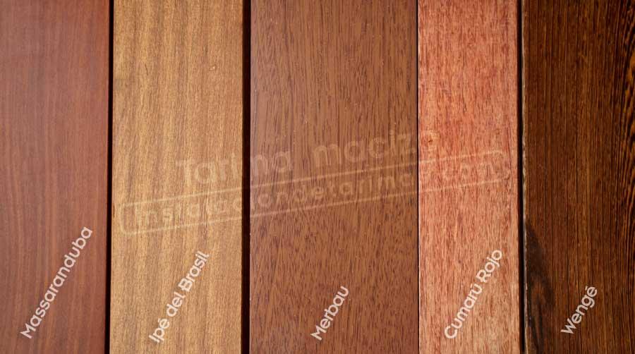 varios tipos de tarima maciza tropical identificados con texto con sus nombres