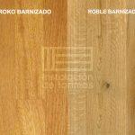 Comparativa del color del roble y el iroko