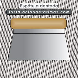 Dibujo del encolado con la espátula dentada