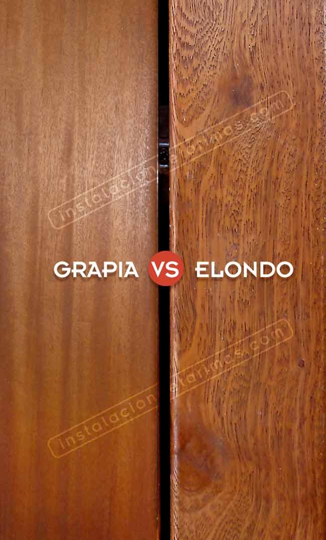 foto comparativa de elondo versus teca (grapia)
