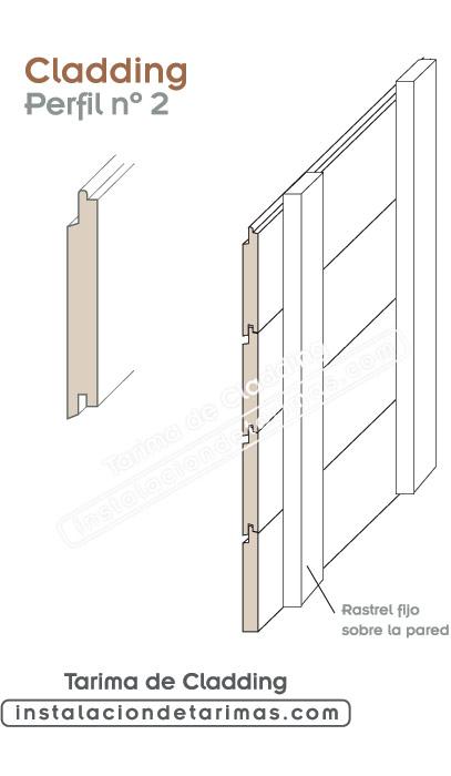 perfil número dos para tarima de cladding para fachadas