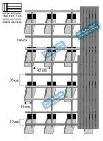 Estructura elevada con doble rastrel tropical cruzado en 90 grados