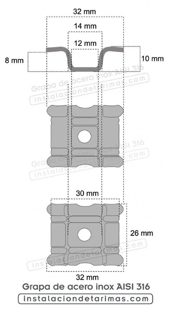 Dibujo con cotas y medidas de grapas de exterior de acero inoxidable marino Aisi 316