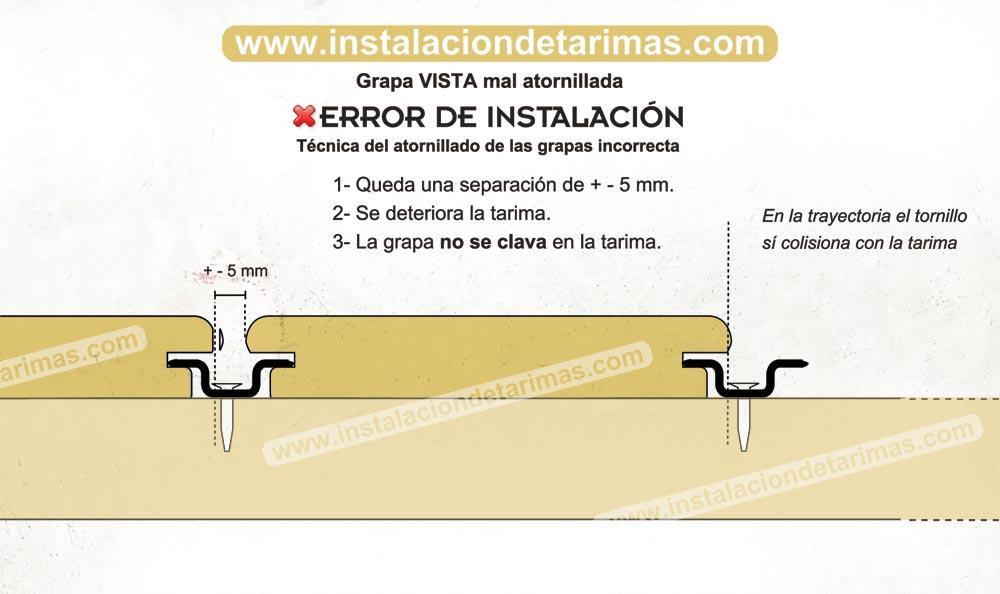 Técnica del atornillado de las grapas errónea que perjudica la instalación de una tarima exterior