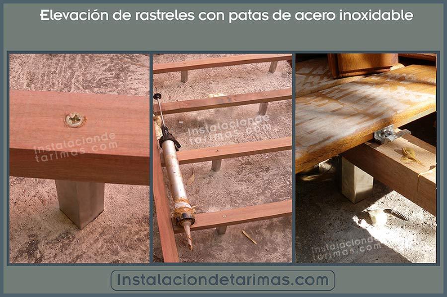 tres fotos con texto explicando la instalación de los rastreles elevados con patas de acero inoxidable