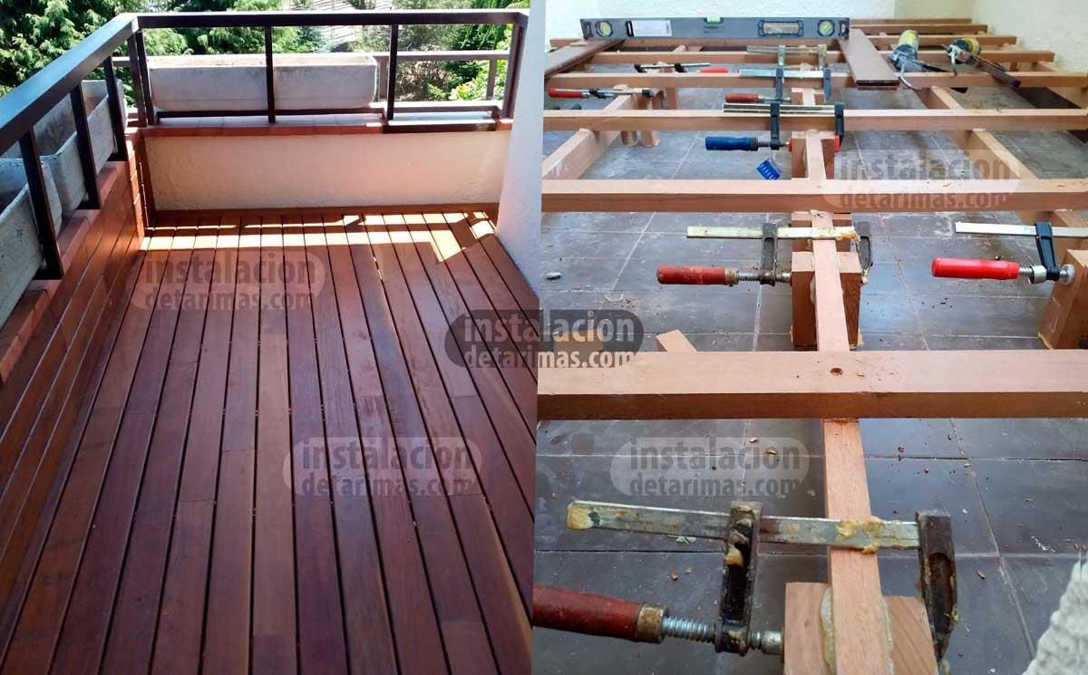 foto comparativa en la que se ve la colocación de los rastreles en una terraza y el resultado