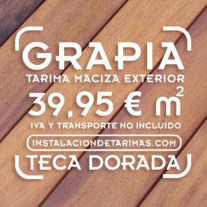 texto con precio de la oferta de tarima exterior de grapia con foto de fondo con el suelo de madera