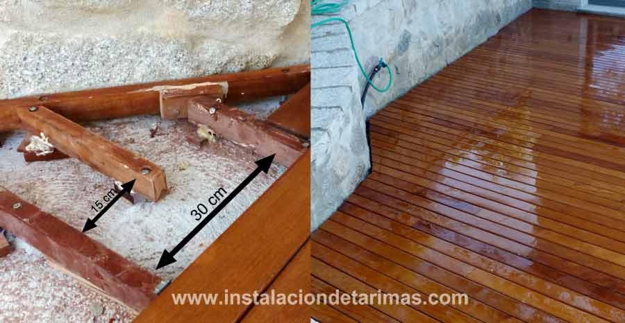 Dos fotos donde se observa como se instala el rastrel tropical para mantener la calidad de la instalación exterior y el resultado final