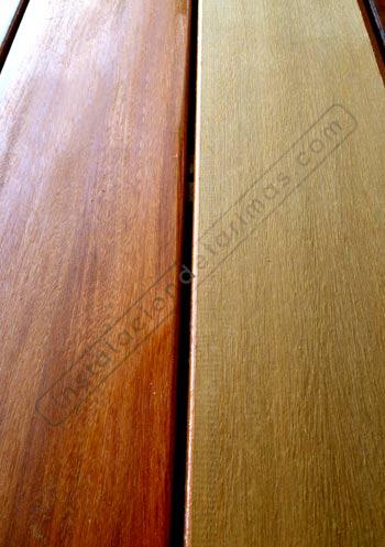 foto de suelo de madera en la intemperie con y sin el lasur o el aceite para tarima de exterior