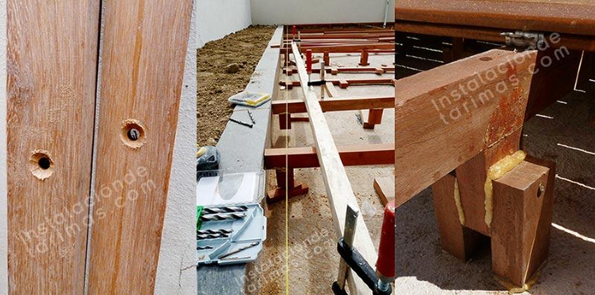 tres fotos mostrando la instalación de los rastreles