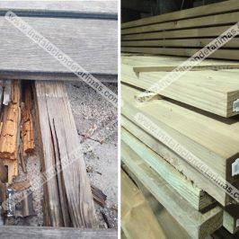 ¿Por qué no es una buena idea emplear el rastrel de pino autoclave en una instalación de exterior?