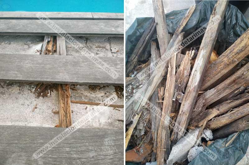 rastrel de pino autoclave en el almacén y unos años después podrido