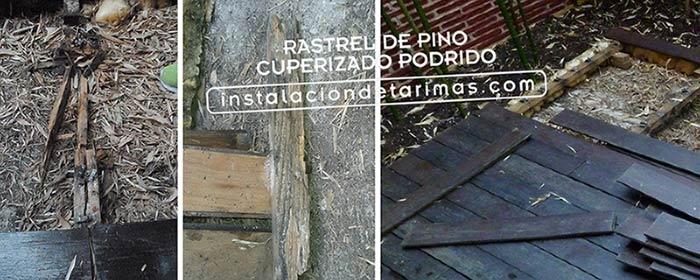 Fotos de rastreles de pino cuperizado podridos que ha durado 5 años, un mal ejemplo de calidad de instalación exterior