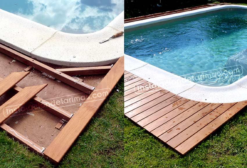 instalación de los rastreles en una piscina