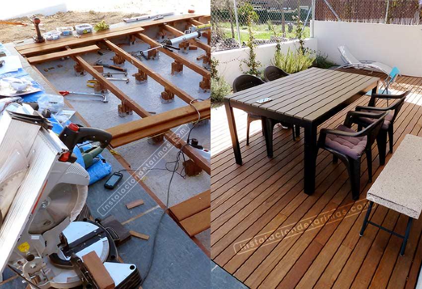 dos fotos comparando antes y después de la instalación de los rastreles en la tarima exterior