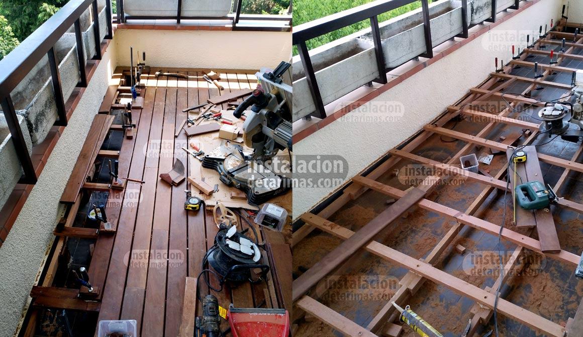 foto de la colocación de los rastreles en una terraza en la que no se puede atornillar