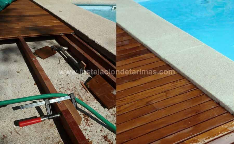 Dos fotos del mismo suelo donde se ve por un lado los rastreles tropicales unidos con un taco suplementario encolado y sujeto mediante un sargento, por otro lado se ve el resultado final del suelo de tarima exterior