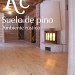 Tarima de pino en casa de madera rústica