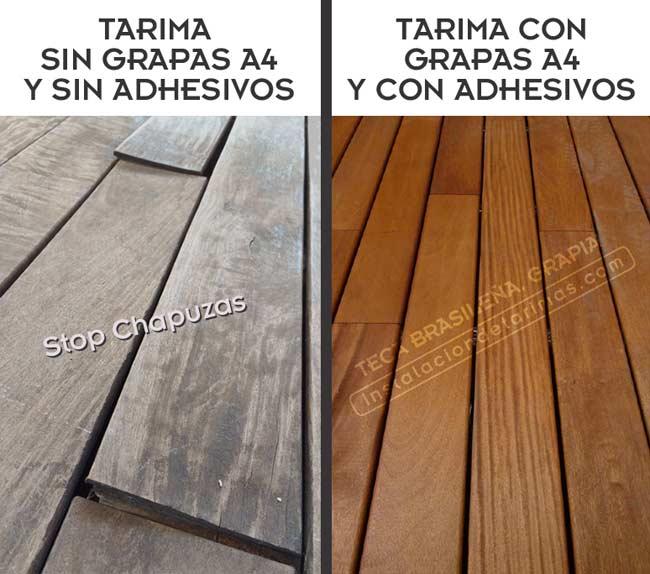 Foto comparativa de una buena y una mala instalación de tarima exterior.