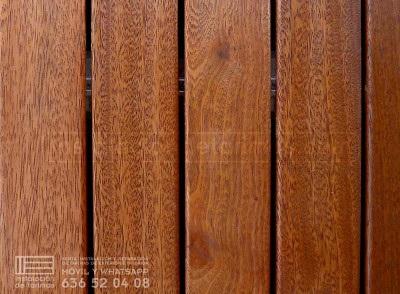 Foto de tarima exterior de elondo. En la clasificación de la madera por su densidad el elondo están entre las mejores.