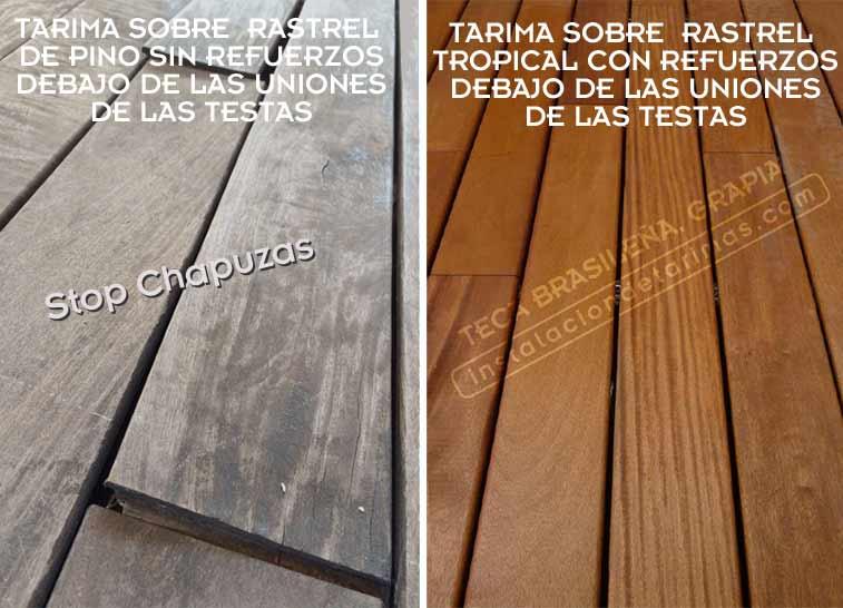 Foto comparativa de una instalación de tarima exterior incorrecta y otra correcta. Con texto explicando la diferencia